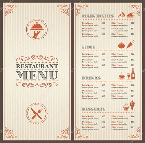 carte de menu restaurant modele classic restaurant menu template stock vector 169 pingebat