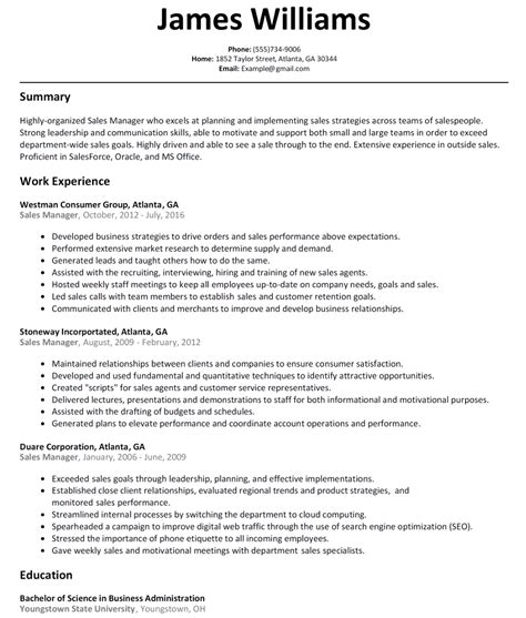 Management Resume Sles by Resume Format For Experienced Sales Manager Resume