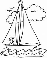 Sailboat Line Drawing Getdrawings Preschool Coloring Cartoon Sheets Realistic sketch template