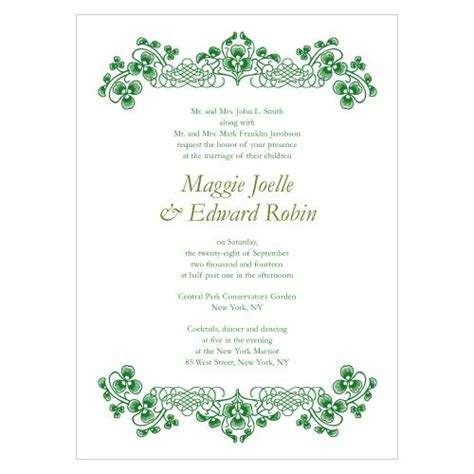 luck of the irish wedding invitations set of 4