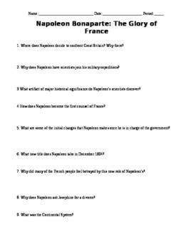 biography channel napoleon bonaparte video questions tpt