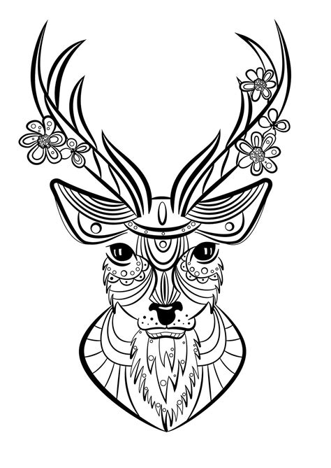 Coloriage Animaux Cerf  Mandala Pinterest
