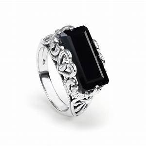 Rectangular Black Onyx Ring Sterling Silver