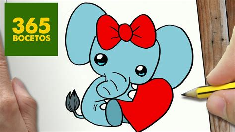como dibujar elfante san valentin kawaii paso a paso dibujos kawaii faciles draw elephant