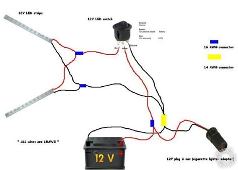 12 Volt Light Wiring Diagram connecting led to 12 volt car battery power supply