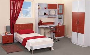 Bedroom Modern Teenage Bedroom Design With Red White Theme