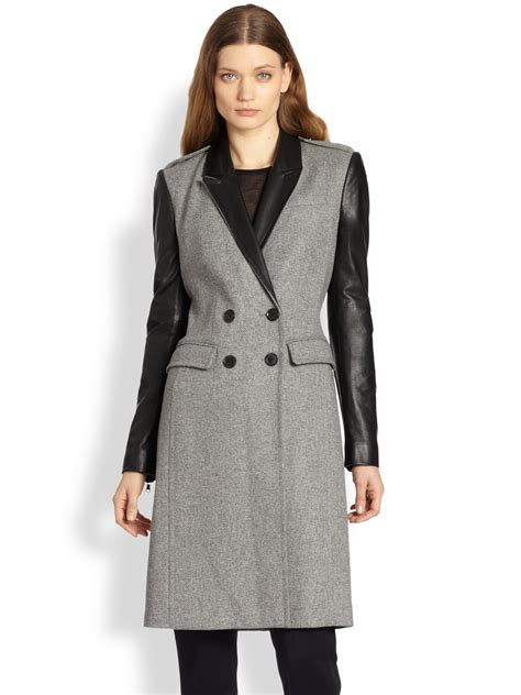 light grey wool burberry leather trimmed wool coat in gray light grey lyst