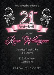 21st Birthday Invitation, 21st Birthday Party Invitation ...