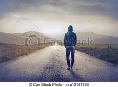 Lonely road Man walking on road