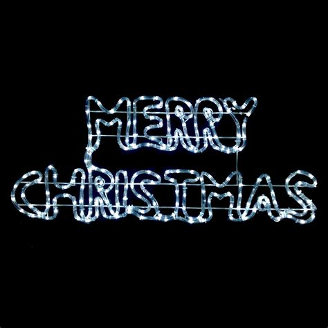 merry sign rope light white led twinkling