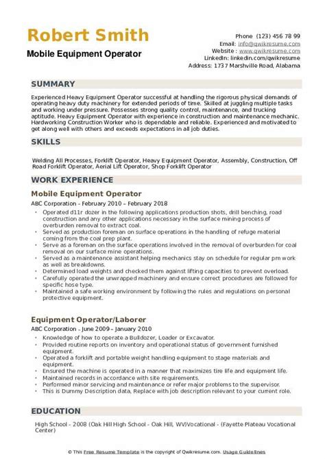 equipment operator resume sles qwikresume