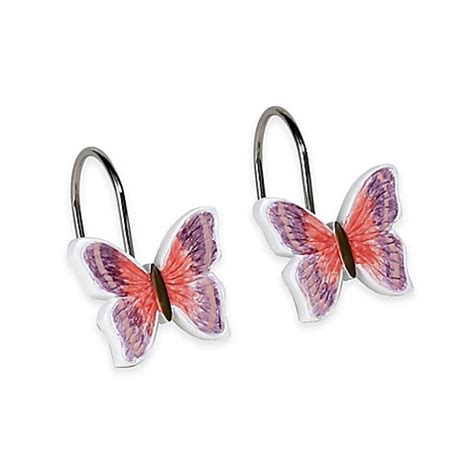 butterfly shower curtain hooks rainbow butterfly shower curtain hooks set of 12 bed