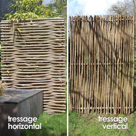 panneau brise vue bois panneau noisetier tressage horizontal ou vertical cloture et occultation