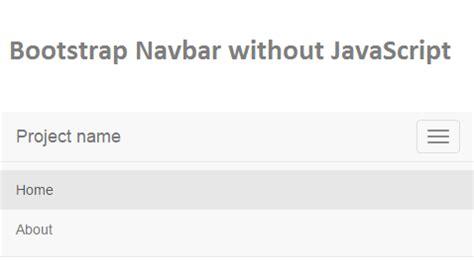 Bootstrap Navbar Menu Without Javascript