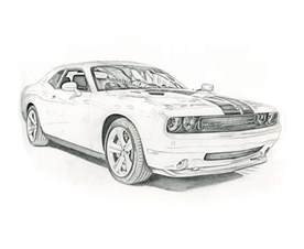 Muscle Car Pencil Drawings