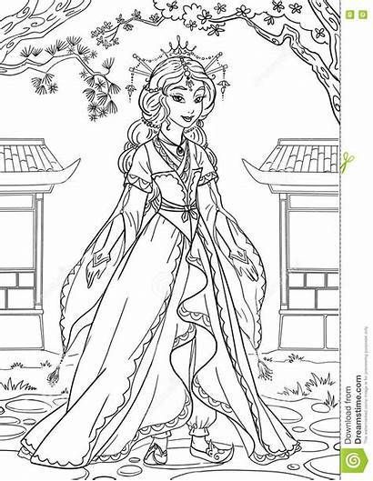 Princess Asian Coloring Illustration