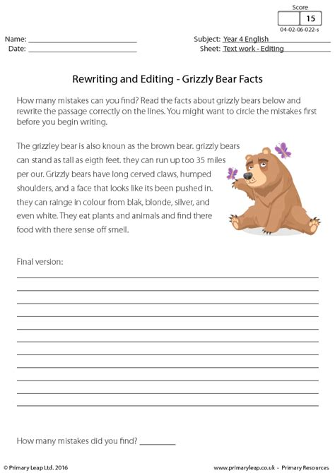 rewriting  editing grizzly bear facts