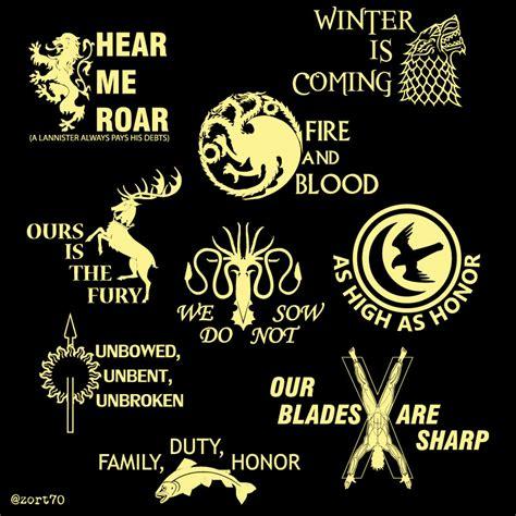 Of Thrones Häuser Motto by Of Thrones House Mottos T Shirt