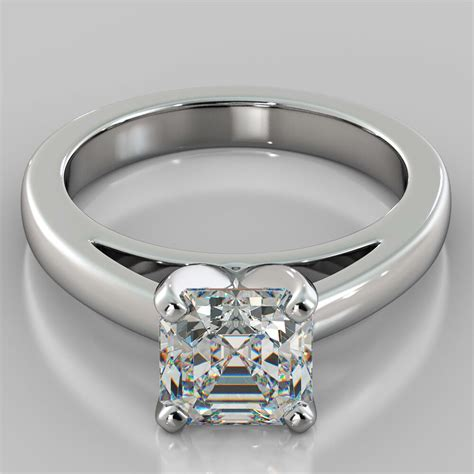 asscher cut cathedral style engagement ring in 14k white gold ebay