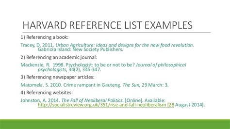 Reference List Sle by Research Assignment Writing Referencing Workshop Alw Nmmu 2015