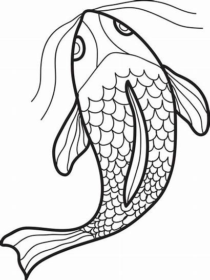 Fish Coloring Swimming Drawing Printable Pages Fishing