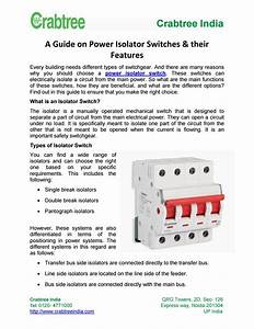 A Guide On Power Isolator Switches  U0026 Their Features By
