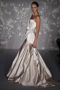 blush silk satin a line strapless wedding dress with With silk satin wedding dress