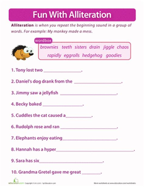 alliteration worksheets 5th grade worksheets for all