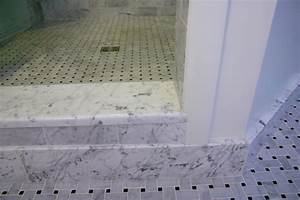 Crema marfil single hollywood bevel thresholds for Marble threshold bathroom