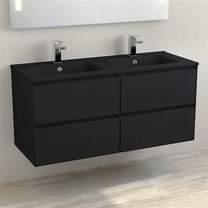 Meuble Double Vasque Noir : meuble double vasque c ramique noir mat 120 cm noir mat one ~ Teatrodelosmanantiales.com Idées de Décoration