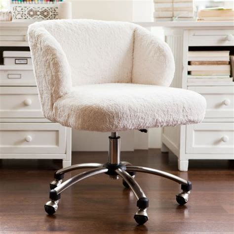 white fur office chair white fur swivel desk chair so chic practical and comfy