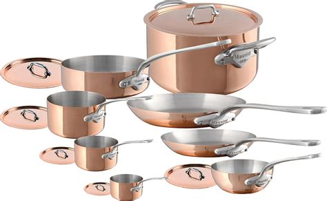mauviel mheritage ms copper  stainless steel  piece set stainless steel handles