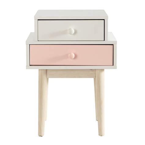 table de chevet en bois blanche l 42 cm blush maisons du monde