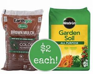 Earthgro colored mulch or miraclegro garden soil only 2 for Garden soil home depot