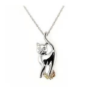 cat necklace black gold sterling silver and 12k gold cat necklace