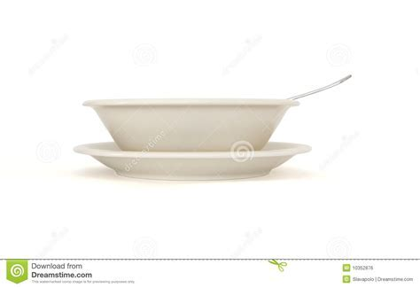 Beige Soup Plate With Spoon And Saucer Side View Royalty