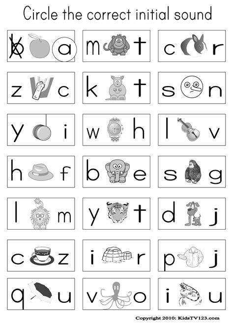 matching letters  sounds worksheets  printables
