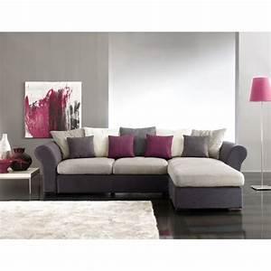 Deco salon avec canape gris meilleures images d for Tapis de souris personnalisé avec canapé d angle cuir blanc design