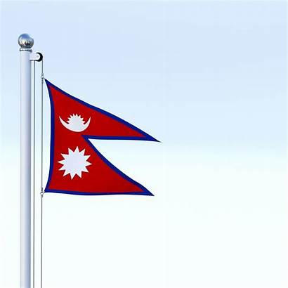 Nepal Flag Animated Poly Low Architectural Models