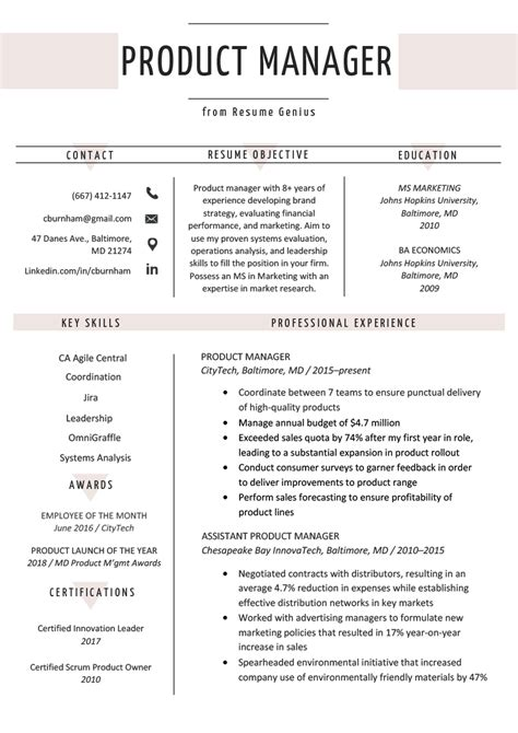 Sle Resume For Product Manager by Product Manager Resume Tipsense Me