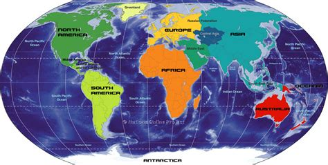 big map  continents   world nations  project