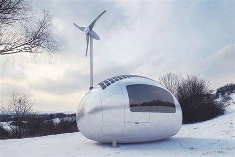 ecocapsule portable house powered  solar  wind