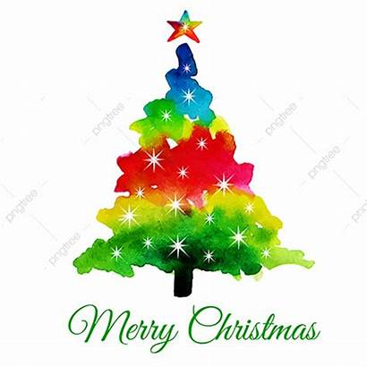 Christmas Tree Abstract Watercolor Vector Background Colors