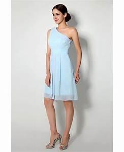 Simple One Shoulder Short Bridesmaid Dress Light Sky Blue ...