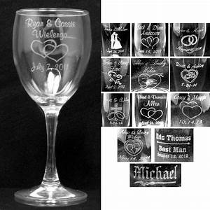 Personalized wine glasses laser engraved wedding party for Etched glass wedding gifts