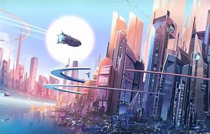 Futuristic Buildings Cityscape Skyscrapers Spaceships Future Fantasy