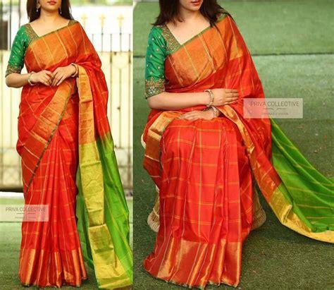 orange with green uppada checks with jari border uppada silk sarees at virajafashionista
