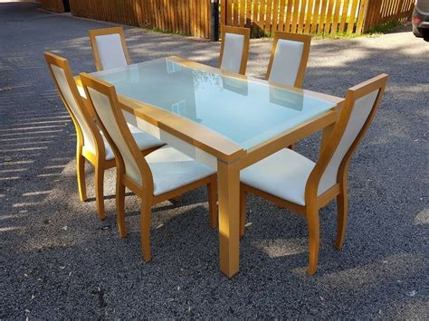 italian frosted glass wood dining table  chairs