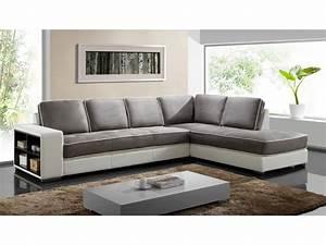 canape d39angle tissu et simili noir ou blanc randy With tapis chambre enfant avec canapé d angle scandinave gris