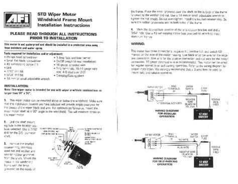 afi marine wiper motor wiring diagram 37 wiring diagram